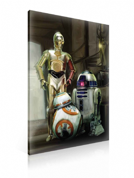 XXL Star Wars Force Awakens R2D2 C3PO Canvas 100x75cm